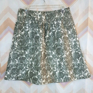 J.CREW white with gray floral print A-line skirt